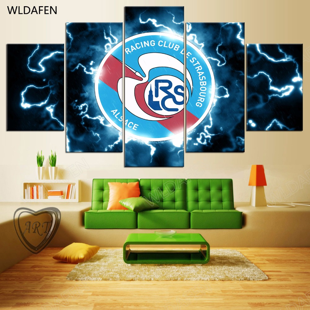 5 Pieces Sports Team Deco Fans Posters Oil Painting On Canvas Modern Home Pictures Prints Decor Living Room PH4-1856