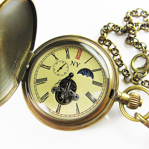 !!!100% Brass Antique Moonphase Tourbillon Mechanical Pocket Watch