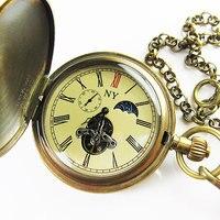 !!!100% Brass Antique Moonphase Tourbillon Mechanical Pocket Watch