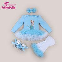 卸売ems dhl送料無料赤ちゃんの女の子夏チュチュ4ピースセットドレスヘッドバンドレギンスベビー靴エルザ赤ちゃん服衣