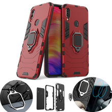 For Xiaomi Redmi Note 7 Metal Magnetic Ring Stand Shell Hybrid Silicone Shockproof Armor Case Car Holder Cover
