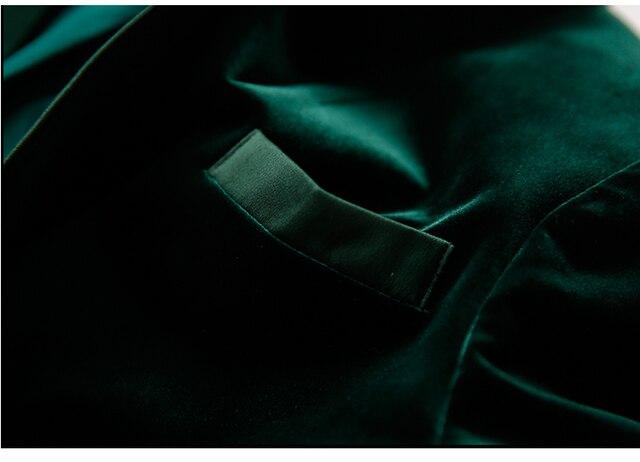 Green Velvet Blazer Women Autumn New 3XL Plus Size One Button Formal Slim Ladies Blazers 2017 Winter Office Suit Coat 4