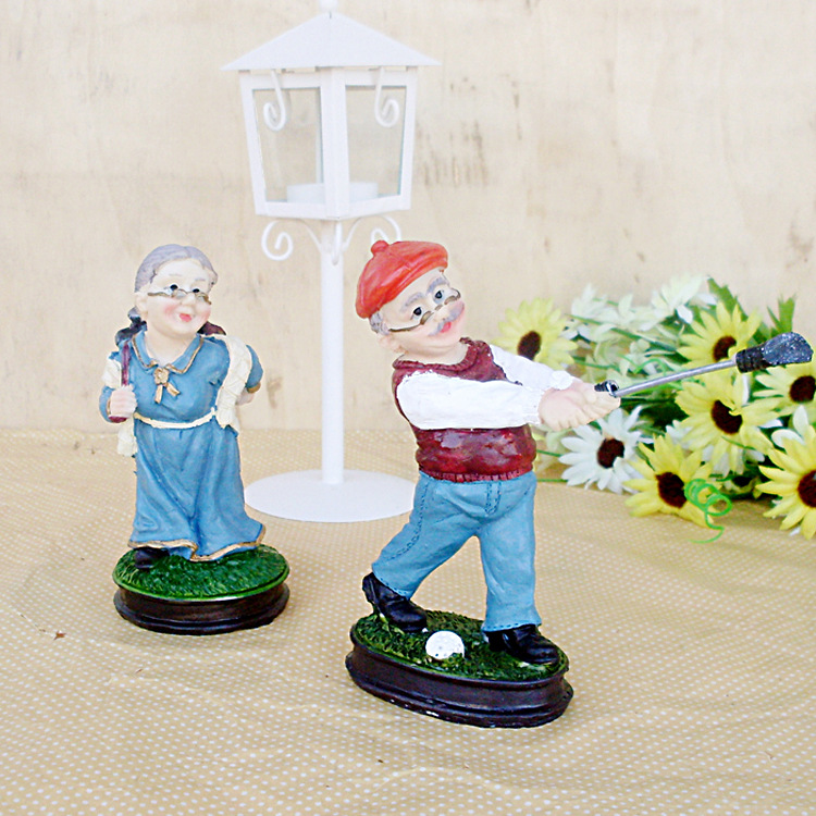 Private custom father-in-law mother-in-law Golf figures resin handicraft decoration wedding gift