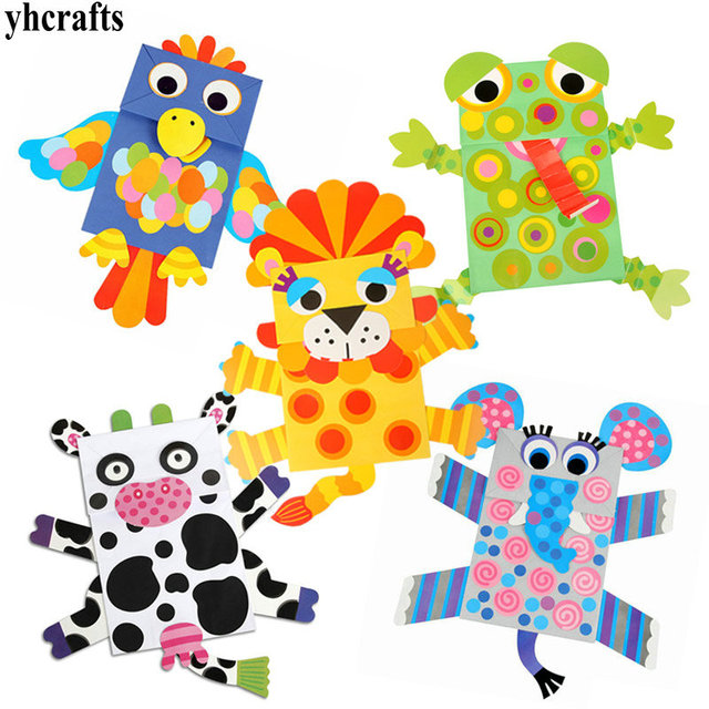 US $25 99 |5PCS/Lot Paper bag puppets craft kit Paper crafts Kids toys  Early learning educational toys Kindergarten crafts Family fun OEM-in  Puppets