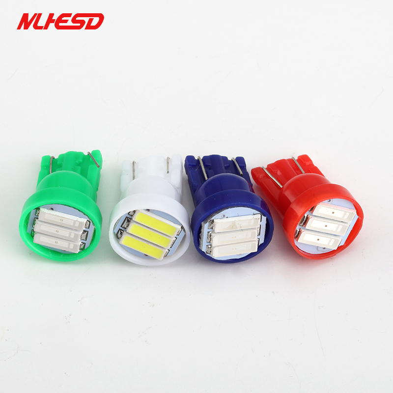 <font><b>100X</b></font> <font><b>T10</b></font> 3 SMD 7014 <font><b>LED</b></font> 3SMD 7020 3W White Blue Red Green Yellow W5W <font><b>LED</b></font> Wedge License Plate Light Lamp Car Light Source 12V DC image