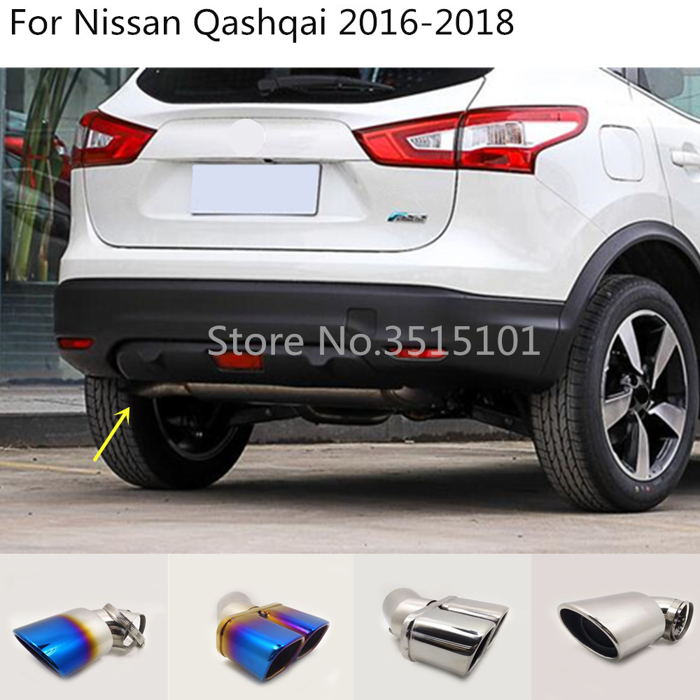 Car Body Styling Cover Stainless Steel Muffler Pipe Outlet Dedicate Exhaust Tip Tail 1pcs  For Nissan Qashqai 2016 2017 2018