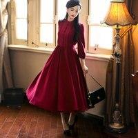 2018 Autumn Women Dress Vintage Red dresses 9/10 Sleeve Retro Swing hem Party Midi Elegant Vestidos