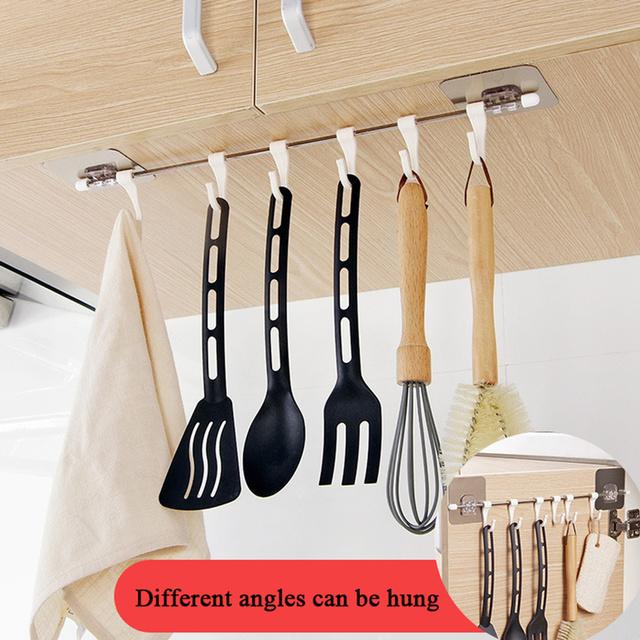 Kitchen Cupboard 6 Hook Home Organizer Storage Rack Towels Hanger Wardrobe Towel Rack Storage Shelf Bathroom Accessories Gadgets