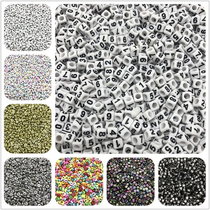 0-9 A-Z WHOLESALE 300//500//1000 Acrylic ALPHABET NUMBER 6MM Cube Beads UK SELLER