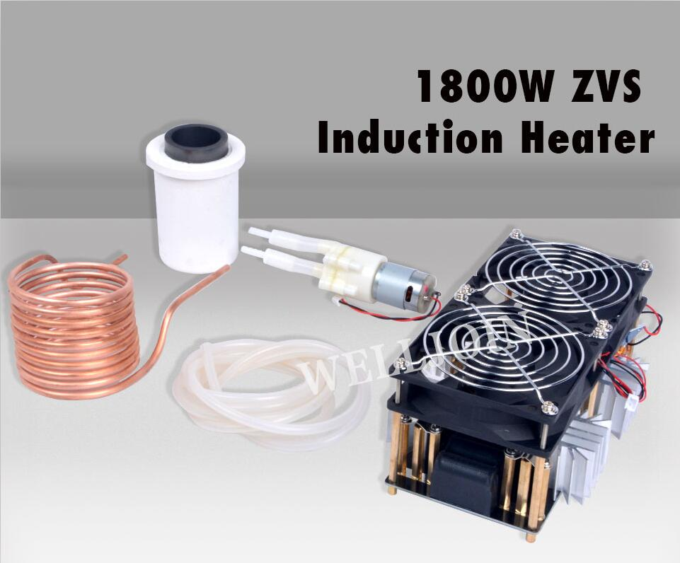1800W ZVS Induction Heater Induction Heating PCB Board High frequency Heating Machine Melted Metal + Coil Mayitr+ Crucible+Pump1800W ZVS Induction Heater Induction Heating PCB Board High frequency Heating Machine Melted Metal + Coil Mayitr+ Crucible+Pump