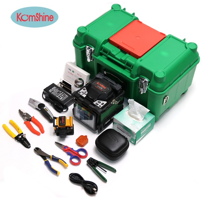Optical Fiber Fusion Splicer KOMSHINE GX36 Fiber Machine Kit with spare electrodes, Maquina de soldadura de la fibra optica