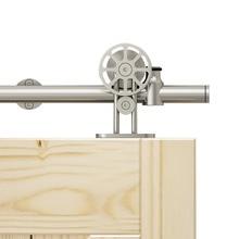 Hardware Spoke-Wheel Sliding Barn-Door Rolling-Track Stainless-Steel Interior DIYHD 5FT-8FT