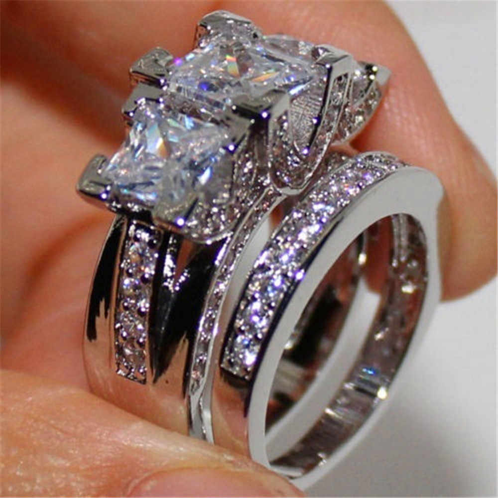 Brilliant Crystal Female Zircon Wedding Ring Set Fashion 925 Silver Bridal Sets Jewelry Promise Love Engagement Rings For Women