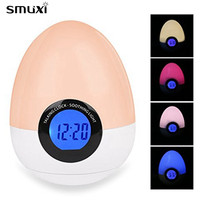 ARILUX Night Light Egg Shape Digital Alarm Clock LED Night Light Colorful Touch Dimmable Bedside Table