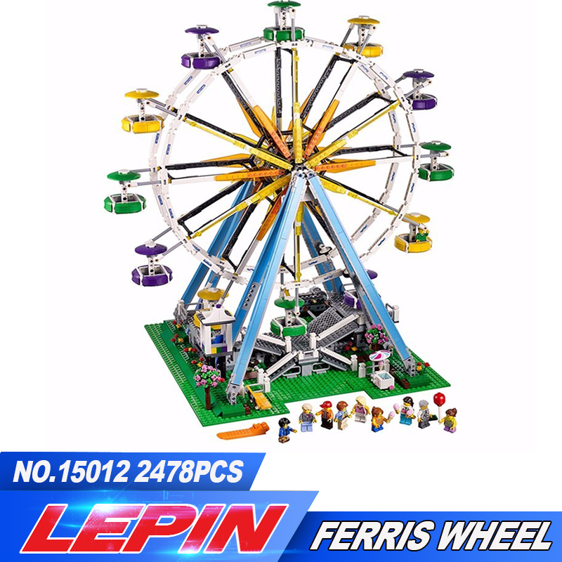 New LEPIN 15012 2478Pcs City Creator Expert Ferris Wheel Model Building Kits Blocks Bricks Toys Compatible 10247 2016 new lepin 15006 2354pcs creator palace cinema model building blocks set bricks toys compatible 10232 brickgift