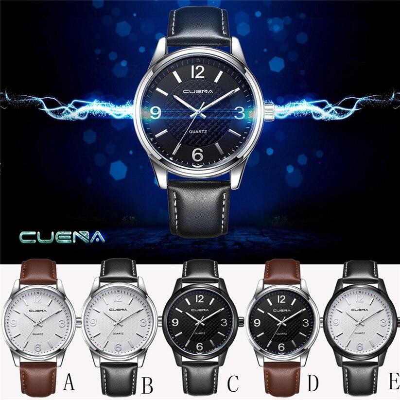 New CUENA Fashion Men Casual Checkers Faux Leather Quartz Analog Wrist Watch relojes hombre 2017 july10 faux leather analog wrist watch