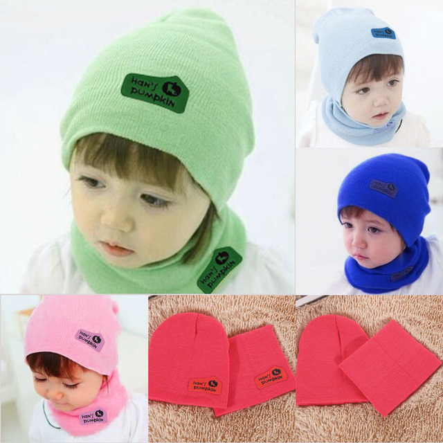 ff0e5d7ca9bdd Hot Sale Spring Autumn Winter Baby Boys Girls Warm Beanie Hat Candy Color Toddler  Children Hedging Crochet Hats+Scarf 2Pcs Set