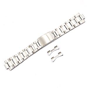 Image 4 - CARLYWET 19 20 ملليمتر 316L الفولاذ المقاوم للصدأ اثنين لهجة الذهب ساعة فضية الفرقة سوار الجوف منحني نهاية خمر المحار