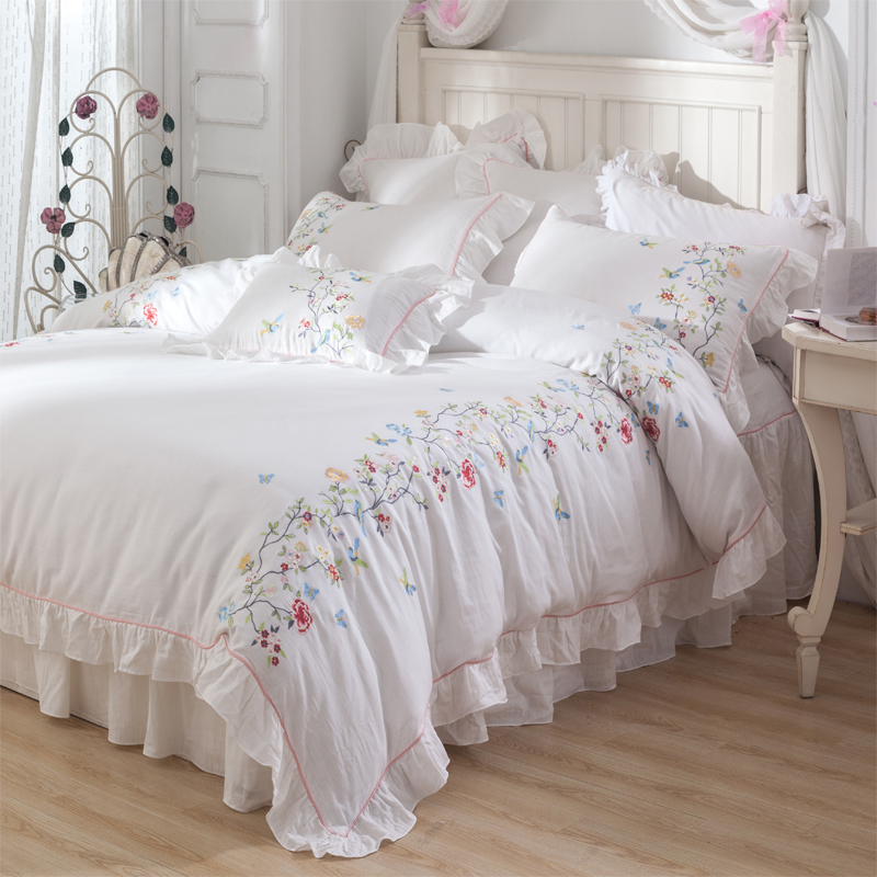 luxury White princess style Bedding Set queen king size Egyptian cotton summer soft Bed Sheet/linen Duvet Cover set beddingset