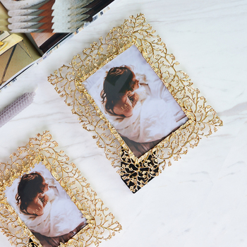 Classic luxury gold relief painting flower style photo frame Exquisite art living decoration gold photo frame