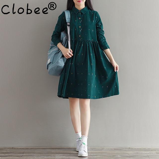 693f2b32b5 2018 New Autumn Winter Vestidos Women Cotton Vintage Dress Japanese Mori  Girl Long Sleeve Floral Printed Corduroy Dresses Female
