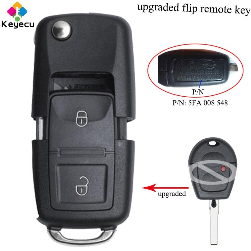 KEYECU Upgraded Flip Remote Car Key With 433MHz & ID48 Chip - FOB For Seat Ibiza Cordoba Arosa Leon 2002-2009 P/N: 5FA 008 548