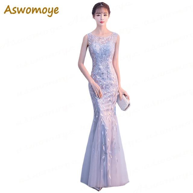 983a18eaa Aswomoye mujeres sirena vestido De noche De plata 2018 elegante Appliques  lentejuelas vestido De fiesta ilusión