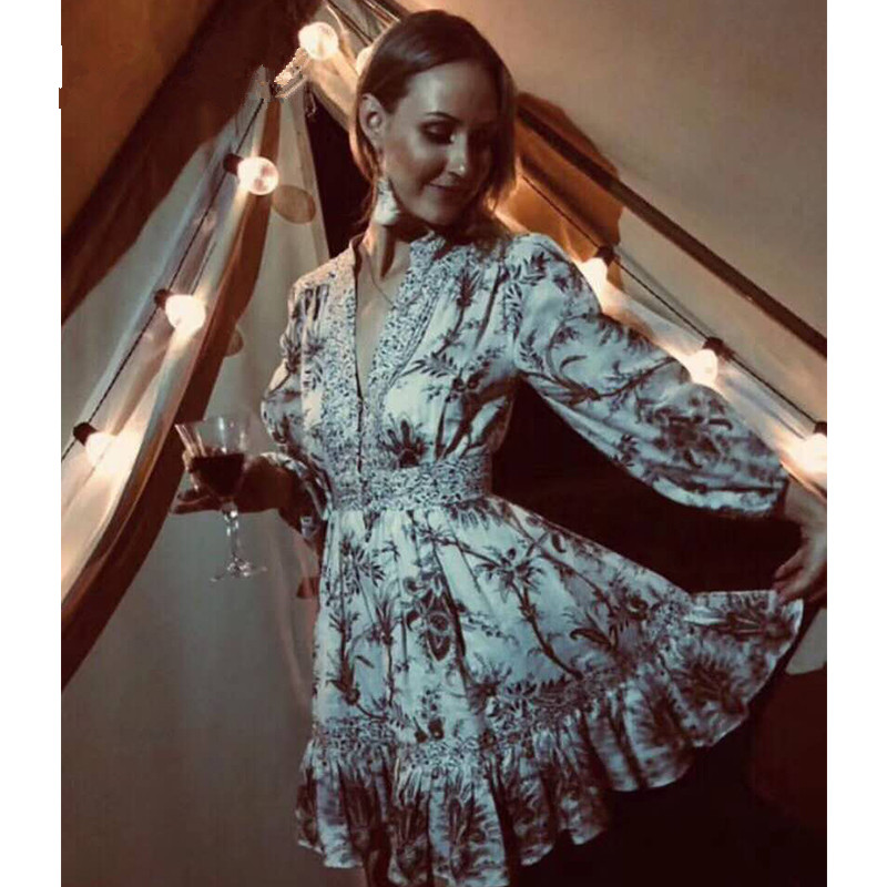 Vacances Imprimé Vintage De Designer En Courte V Femmes Bohème 2019 Manches Floral Robe Col Plage Piste Lanterne CC5Sqxw
