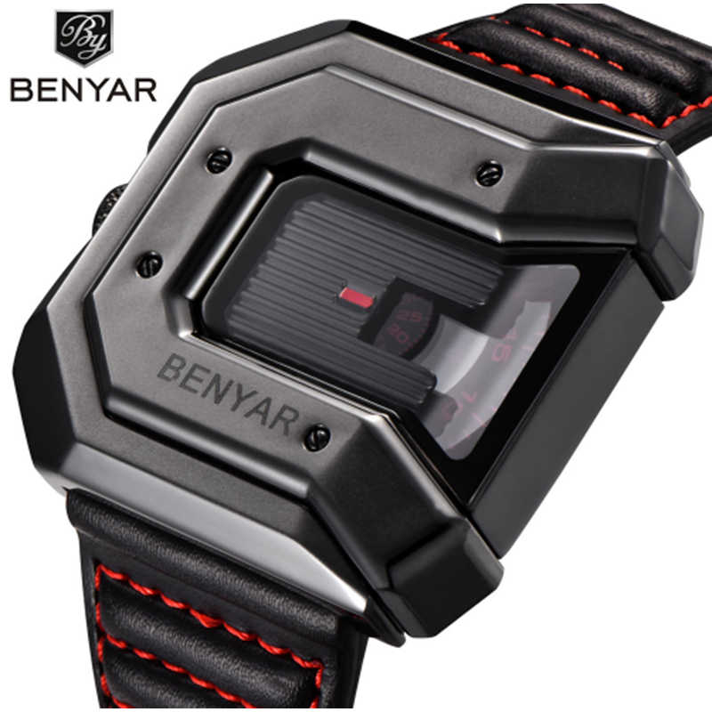 Top Brand BENYAR new creative quartz watch men's brand leather multi-purpose waterproof luxury business watch sports men's watch