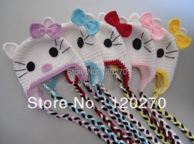 Free Shipping Handmade Baby Boys Girls Hello Kitty Crochet Hat