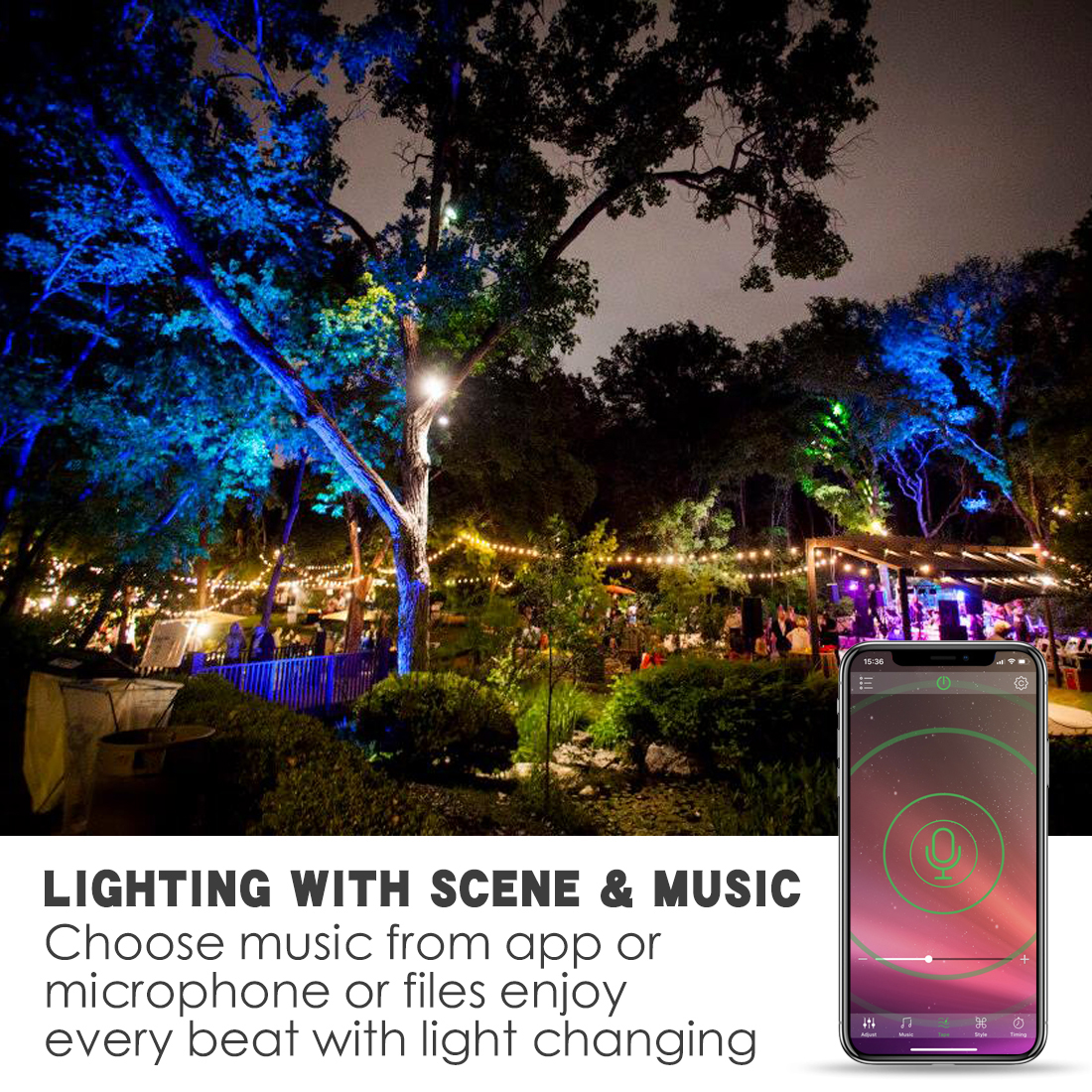 Image 5 - RGB LED Floodlight 15W Bluetooth4.0 APP Group Control Outdoor Smart Flood Light IP66 Waterproof Garden Color Changing Spotlight-in Floodlights from Lights & Lighting
