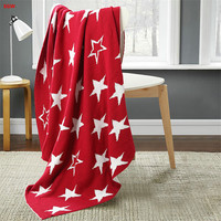 British style star blanket red 100%cotton knitted blankets blue sofa blanket soft portable home textile 125*150cm for kids adult