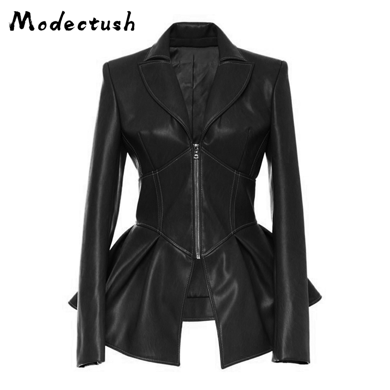 Modecrush Women Slim Faux   Leather   Jacket 2019 Office Lady Turn Down Collar Suit Jackets Female Pendulum Long Sleeved Outerwear