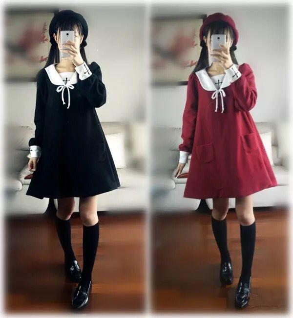 2018 New Kawayi Lolita Dresses Embroidery Long Sleeves Plus velvet Red Black Uniform Dress