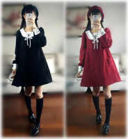 2018 New Kawayi Lolita Dresses Embroidery Long Sleeves Plus velvet Red Black Uniform Dress
