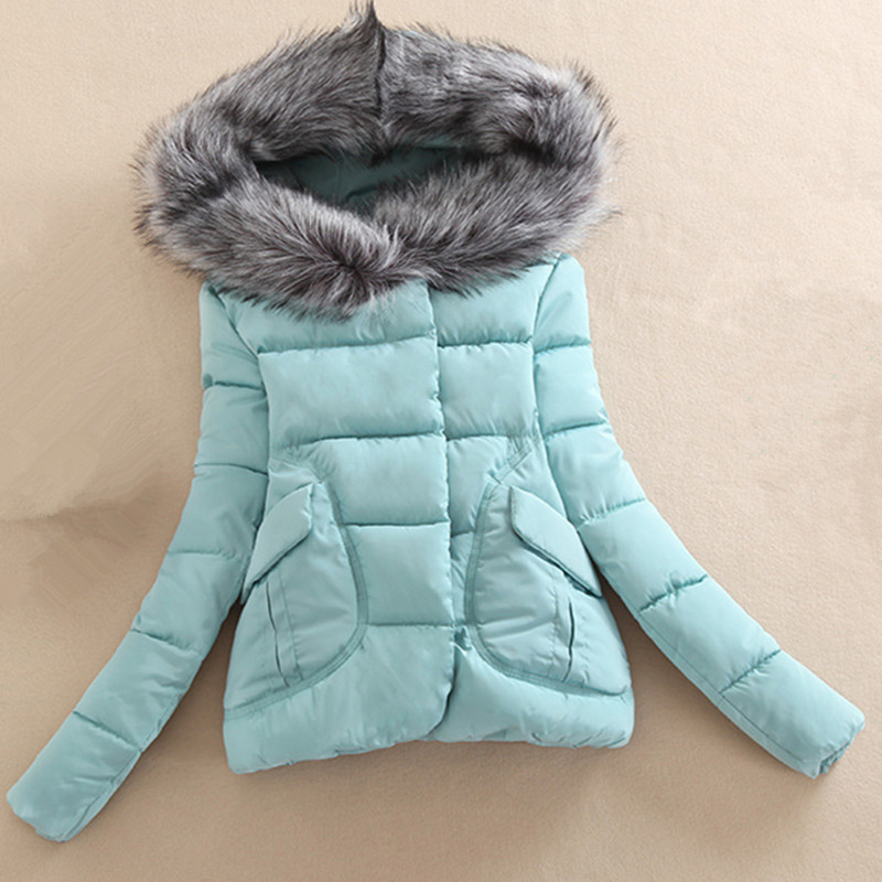 2017 New Sell like hot cakes Pure color cotton Winter Jacket Women Fur Hood Cotton Padded Coat   Parkas   For Women Winter