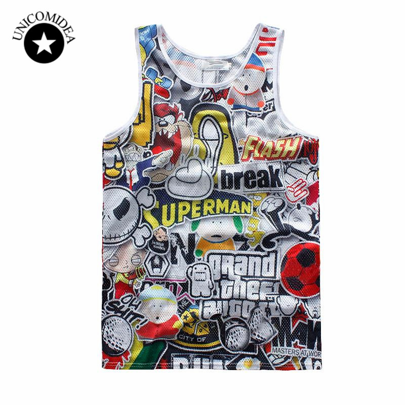 2017 Tank Top Men/women Vest 3d Jerseys Cartoon Print Sleeveless Tee Superman Break Jersey Hiphop T Shirts Bodybuilding Tank Top