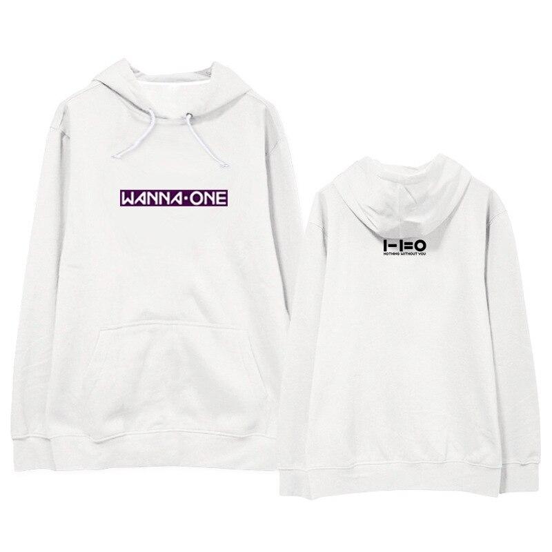 Kpop home New wanna one Same Praise Sweatershirt Harajuku style Loose Long sleeved Hoodie Womens Winter Hoody with hat