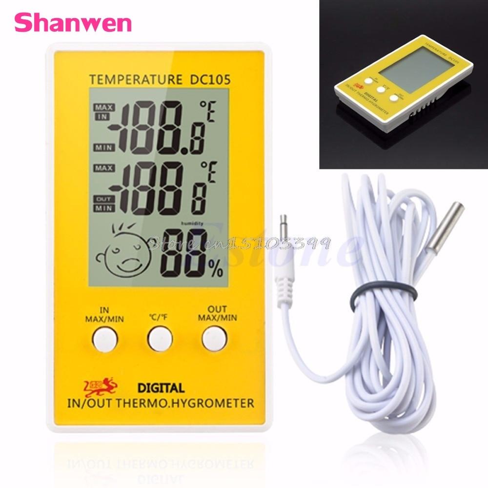 1PC دیجیتال LCD رطوبت در فضای باز دما سنج - ابزار اندازه گیری