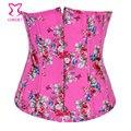 Corzzet corsetto burlesque pink flower pattern denim cintura cincher cintura emagrecimento underbust corset corselet sensuais korset