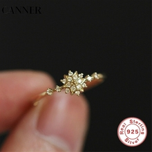 CANNER Dainty Cute Snowflake Rings For Women  Delicate Chic Wedding Ring Party Luxury Crystal Zircon CZ Jewelry 3 Colors R4