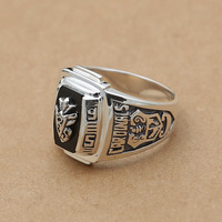 Wholesale Fashion Jewelry Silver S925 Silver Retro Europe Wide 1995 Mens Black Onyx Ring Badge