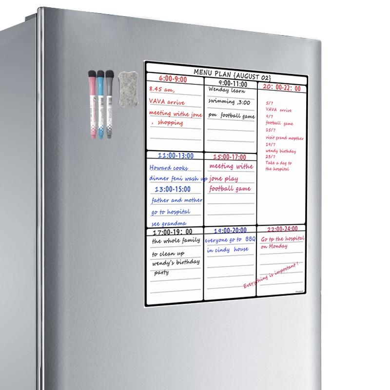 A3 Dry Erase Whiteboard Sheet For Kitchen Fridge Family Organiser Meal Planner Memo Board Shopping List Refrigerator White Board