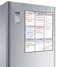 Folha apagável com secagem para quadro branco, a3, placa branca para organização da família de geladeira, planejador de refeição, lista de compras, frigorífico, placa branca