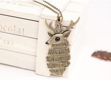 2013 New Arrival Bronze Luckly Christmas Deer Sweater Pendant Long Necklace N163
