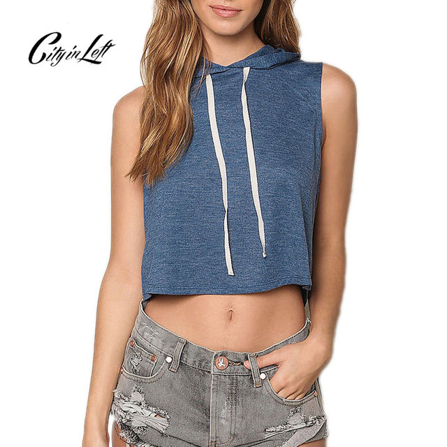 City 2017 Summer Style Women Crop-Top Fashion Hooded Sleeveless Loose Women Short Tee White Blue Custom Casual Top Camis 1134