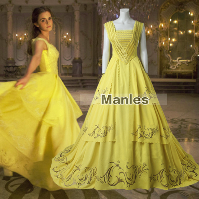 Princess Belle Fancy Dress 2017 Movie Beauty And The Beast Cosplay Costume Yellow Clothes Party