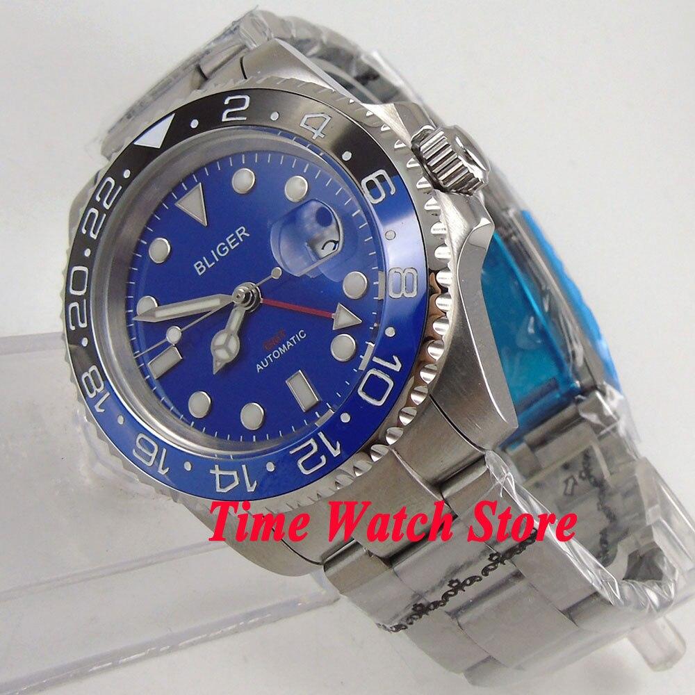 Bliger 40mm blue dial luminous saphire glass Ceramic Bezel GMT Automatic movement men's watch men 190 цена и фото