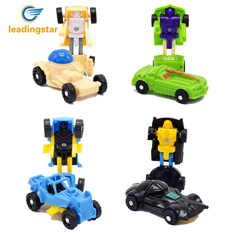 RCtown 12Pcs Creative Transformation Robot Car Toy Cute Mini Deformation Car Model Toys Gift Random Color Zk20