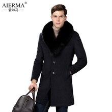 AIERMA мужская правда фокс меховой воротник длинная шерсть пальто новый толстый теплые шерстяные slim fit тренч пальто марка одежды роскошные зима теплая(China (Mainland))